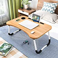 Laptop Desk, Astory Portable Laptop Bed Tray Table Notebook Stand Reading Holder with Foldable Legs & Cup Slot for Eating Breakfast, Reading Book, Watching Movie on Bed/Couch/Sofa (Golden)
