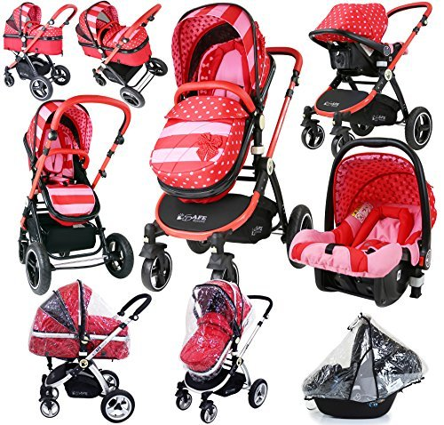 i-Safe System - Bow Dots Trio Travel System Pram & Luxury Stroller 3 in 1 Complete With Car Seat And Rain Covers by iSafe