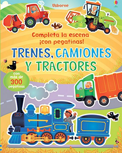Trenes, Camiones Y Tractores. Completa La Escena ¡Con Pegatinas!