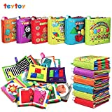 #3: 6 PCS Soft First Baby Book,TEYTOY Nontoxic Fabric Baby Cloth Books Early Education Toys Activity Crinkle Cloth Book for Over 1 Years Toddler (New Version)