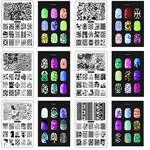 Earnest Nail Art Templates Steel Plate Transparent Stamp Nail Stamping Plates Sets Kits Scraper Nail Art Templates Plate Stamp Nail Nail Art