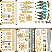 6 Sheets Gold and Silver Temporary Boho Metallic Henna Tattoos Festival Accessories Waterproof Body Glitter Sh