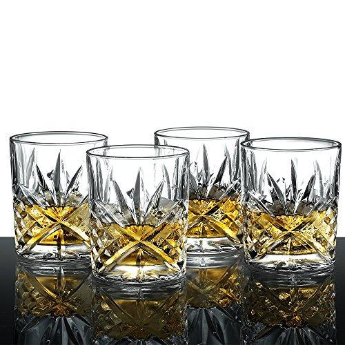 Ecooe 4 x Whiskeygläser Whisky Glas Set Whiskybecher 300ml für Scotch, Bourbon,...