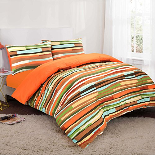 HDN Wave Reversible Printed Poly Cotton Duvet Cover & Pillowcase Set - Double - Orange