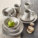 Vancasso 16-piece Dinnerware set combinazione con piatti in ceramica grigio smaltato/dessert/ciotole da zuppa/tazze, servizio per 4persona