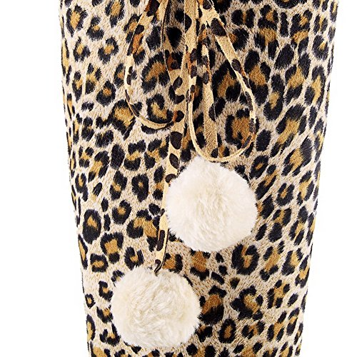 VogueZone009 Donna Pelle Di Mucca Alta Altezza Colore Assortito Cerniera Tacco Alto Stivali Giallo
