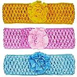 Crochet Cutwork Flower Baby Headband (Pink, Yellow, Blue) 3 Pcs Set