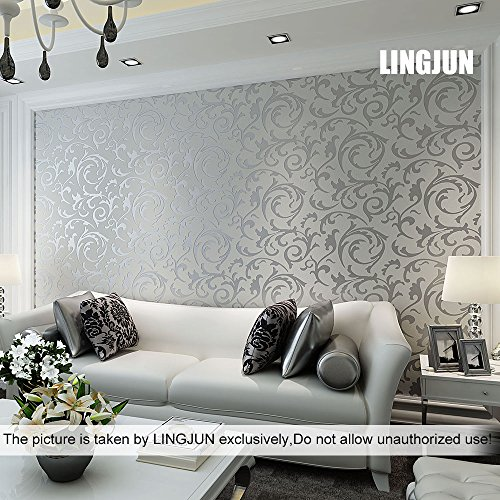 Great Modern Minimalist Non Woven Water Plant Pattern 3D Flocking Embossed  Wallpaper Roll Living Room Bedroom Silver Grey (3)