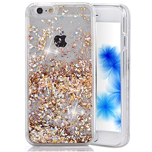Glitter Iphone Plus 6 Case (EMAXELERS iPhone 6S Plus Case Transparent Clear Glitzer Liquid Diamond Hülle,iPhone 6S Plus Hülle Rosa,iPhone 6S Plus Hard Hülle,iPhone 6S Plus Hülle Bling 3D Kreative Liquid Case Etui für iPhone 6 Plus 5.5 Zoll,iPhone 6S Plus Hülle Glitter Glitzer Crystal Flüssige Fließend Clear Hart Plastik Tasche Kristall Handytasche Rückseite Hülle Schale Etui Für iPhone 6S Plus / 6 Plus 5.5 Zoll,Gold Diamonds)