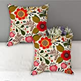 #10: Floral pattern designer cushion cover without filler 16x16 (Set of 2) by Aart Store