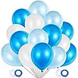 JOJOR Palloncini Azzurri e Bianchi, 100 Pezzi Palloncini Blu Perlati per Decorazioni Festa Nascita Bambino, Battesimo Maschio