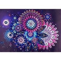 Diamond Painting DIY 5D Special Shape Rhinestones, ABEUTY Kaleidoscope Purple Mandela Flowers, Partial Drill Crystal Diamond Art Kits