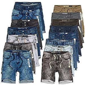 Sublevel Herren Sweat Shorts Kurze Hose Jeans Bermuda Denim Sweatpants Cargo Jogging Jeans Vintage Cargohose Used Look W29 - W42