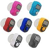 AFUNTA - Contador de dedo electrónico (7 unidades) con 5 LED digitales, contador mecánico y manual de vueltas para dedo, con