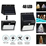 Solar Light Motion Sensor Lights Wall Lighting with Separate Solar Panel & Extension Cords, Waterproof Security Lamp for...