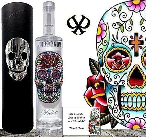 100% Vodka |Geschenk-Set Flower Skull|Luxus-Wodka Iordanov im Geschenk-karton Chrome | Luxus für Männer und Frauen | Muerte Geschenkkarte