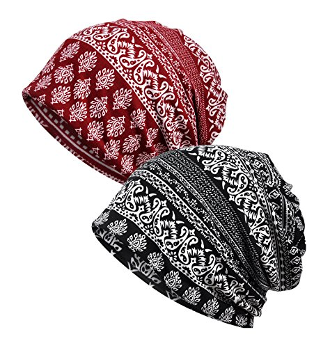 EEVASS Damen Baumwolle Elastisch Slouchy Beanie Hut Blumen Kappe Schal (# D, 2)