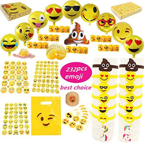 Lot de 232 accessoires pour fête sur le thème Emoji, ballons, autocollants, bracelets en caoutchouc, sacs