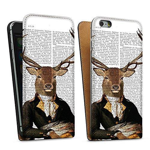 """artboxONE Handyhülle Apple iPhone 6 Plus, schwarz Downflip-Case Handyhülle """"Hirsch Leger Case"""" - Tiere - Smartphone Downflip Case mit Kunstdruck von FabFunky Downflip Case schwarz"""