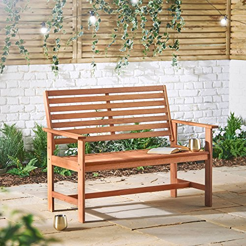 VonHaus Hardwood Garden Bench - Classic 2 Seater Wooden Patio Outdoor Furniture - Seating with Teak Oil Treated Meranti Hardwood (120cm)