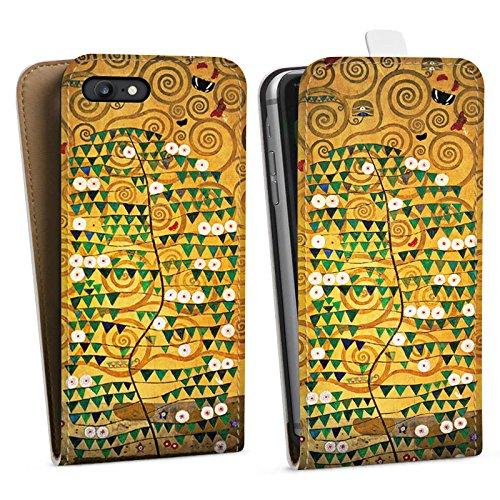 Apple iPhone SE Tasche Hülle Flip Case Klimt Tree of Life Kunst Downflip Tasche weiß