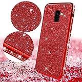 Uposao Kompatibel mit Samsung Galaxy A8 Plus 2018 Handyhülle Glänzend Glitzer Kristall Strass Diamant Handytasche Überzug Silikon Schutzhülle Tasche Durchsichtige Hülle Backcover Case,Rot