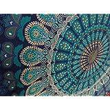 BhagyodayFashions - Tappeto/arazzo stile mandala indiano, motivo coda di pavone, fatto a mano in cotone, copriletto matrimoniale, tovaglia da picnic, tovaglia, 137x218 cm Prodotto da Bhagyoday