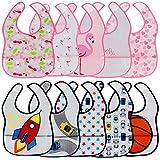 Lictin 10 Stück Baby Bib Set Babylätzchen Wasserdicht Lätzchen Unisex Baby Lätzchen Set für Baby (bunt)