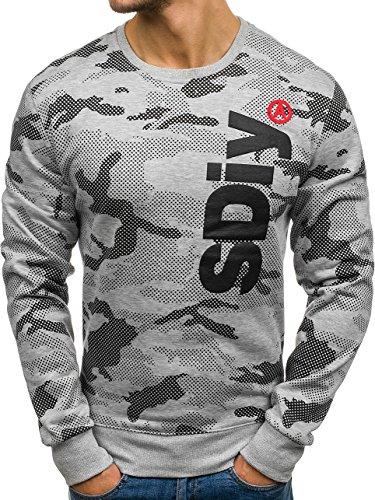 BOLF Herren Sweatshirt Rundhalsausschnitt Pullover sportlicher Stil J.Style DD08 Grau XXL [1A1] |