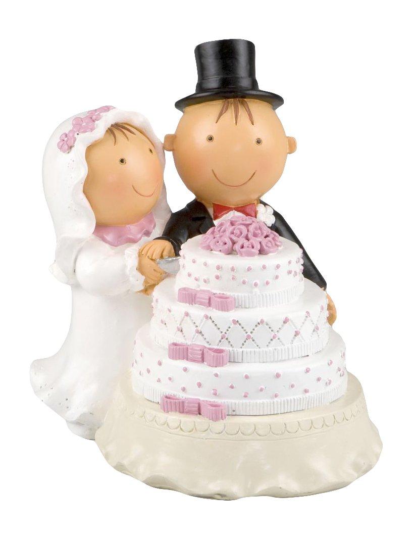 Mopec Y494���Statuetta per torta, motivo: coppia di sposi Pit & Pita che tagliano la torta, 16�cm