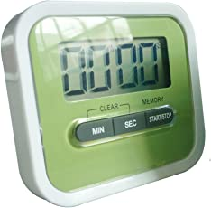 Preyank Solar Compact Lab & Kitchen Timer Stop Watch With Alarm, Large Digital LCD Display. With Table Stand & Fridge Magnet Green