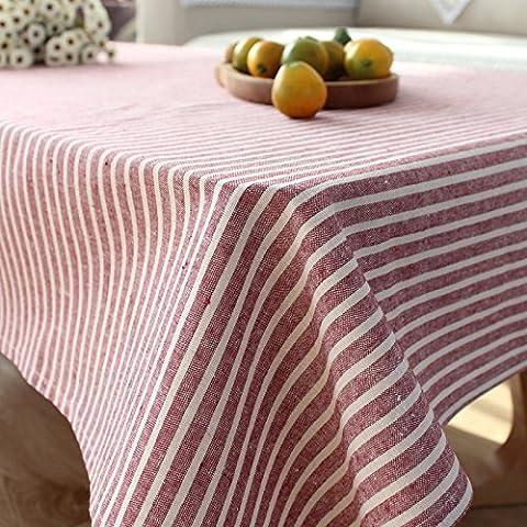 Qingv Minimalistischen modernen japanischen Streifen Baumwolle Tischdecken Stoff Esstische rechteckige Tische, Handtuch, Wein rot, 90 * 90