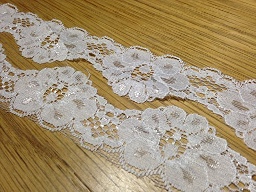 EL18 3 m x 40 mm blanc ivoire fleur en dentelle élastique de rubans