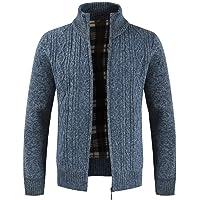 Furpazven Mens Cardigan Sweater Zipper Stand Collar Knitwear Jumper Fleece Lined Long Sleeve Winter Coat