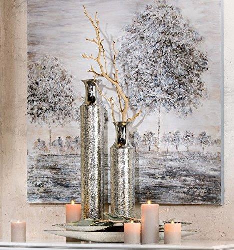 1 x Flaschenvase Spot Alu silber gehämmert Höhe 73 cm, Tischdeko, Vase (Handwerk Vase)