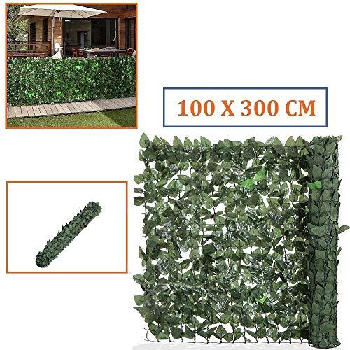 siepe finta siepe artificiale foglia edera lauro sintetica anticaduta mt 3x1