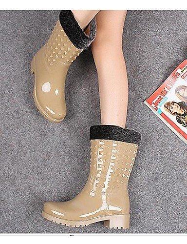 Outono Cáqui De Shangyi Calcanhar Sem Cáqui Moda Das Inverno Sapatos De Botas Primavera Pérola Negra Chuva Feminina Mulheres Pvc 0w0If