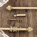 AT17 Gardinenstange Vorhangstange Gardinenstange Variable Länge Landhaus Shabby Chic - Vintage - 120-210 - Durchmesser 2 cm - Elfenbein Dunkel/Gold - Metall