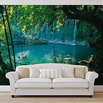 1wall stunning green forest green trees and sunrise for Amazon wall mural