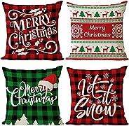 Neatee Living Christmas Pillow Covers Set of 4 Red Green Xmas Decorative Throw Pillows Christmas Tree Deer San