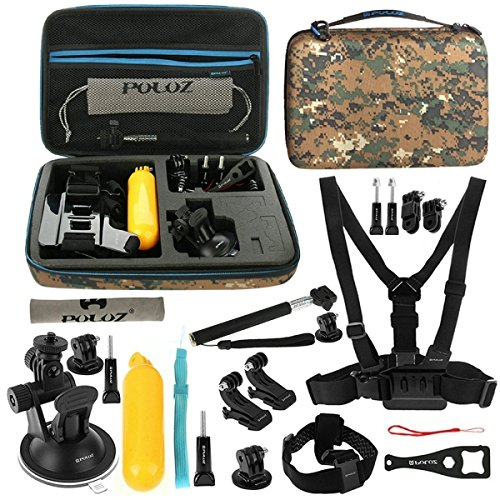 PULUZ 20 in 1 Accessories Combo Kit with Camouflage EVA Case (Chest Strap + Head Strap + Suction Cup Mount + 3-Way Pivot Arm + J-Hook Buckles + Extendable Monopod + Tripod Adapter + Bobber Hand Grip + Storage Bag + Wrench) for GoPro HERO4 Session /4 /3+ /3 /2 /1
