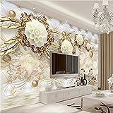Wapel Foto personalizzata carta da parati adesivo parete 3D murale 3D Oro di lusso fiore bianco sacca morbida palla gioielli parete Tv 200cmx140cm