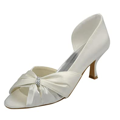 Kevin Fashion MZ1209 Ladies Bow Satin Bridal Wedding Formal Party Evening Prom Sandals  B01D87QK1Y