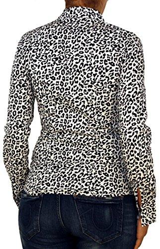 2232 femmes chemisier, manches longues, coton, élasthanne, blanc avec motif léopard (bleu, noir) équipée S M L XL. Noir