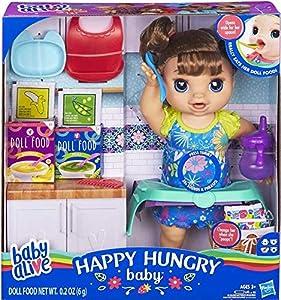 Baby Alive Muñeca de bebé Feliz Hambriento (Pelo Recto marrón), Hace más de 50 Sonidos y Frases, Come y Bebe y rellena su pañal, para niños de 3 años en adelante