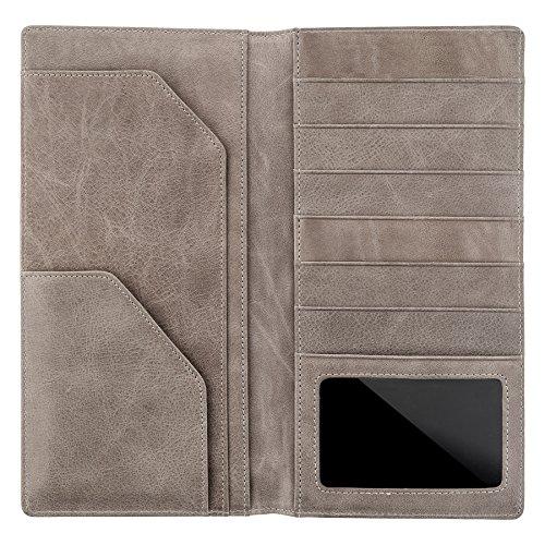 BULLAZO PLANO Reisepasshülle MIT RFID NFC SCHUTZ BLOCKER | Ausweishülle in beige grau | Leder Etui mit Scheinfach als Organizer Schutzhülle für Reisepass Flugticket Kreditkarten | Damen Herren (Reisepass Flugtickets, Case)