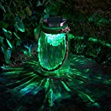 Glass Solar Powered Carnival Lantern with Rotating Light Effect Looks Stunning at Night