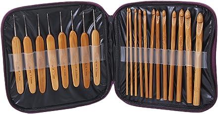 Imported 20Pcs Bamboo Crochet Hooks Knitting Needles Set with Case-14008516MG