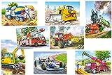 Unbekannt 7 Stück: Mini Puzzle / Minipuzzle - jeweils 24 Teile - Fahrzeuge / Auto - für Kinder Kinderpuzzle Minipuzzles Traktor Bagger Feuerwehr Zug Kran Betonmischer