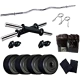 Facto Power Home Gym with 8 Kg. P.V.C Weight Plates (2 Kg. X 4 = 8 Kg.) Gym Gloves, Wrist Band Curl Rod & Dumbbell Rods for H